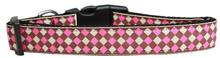 Pink Checkers Nylon Collar