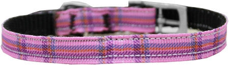 "Plaid-nylon-collar-buckled-3-8""-Pink-Size-14"