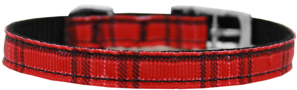 "Plaid-nylon-collar-buckled-3-8""-Red-Size-10"