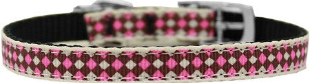 "Pink-Checkers-nylon-collar-buckled-3-8""-Size-14"
