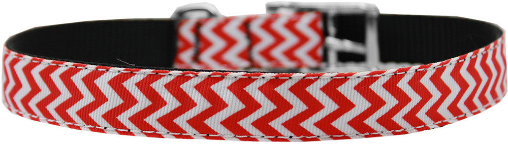 "Chevrons-nylon-collar-buckled-3-4""-Red-Size-22"