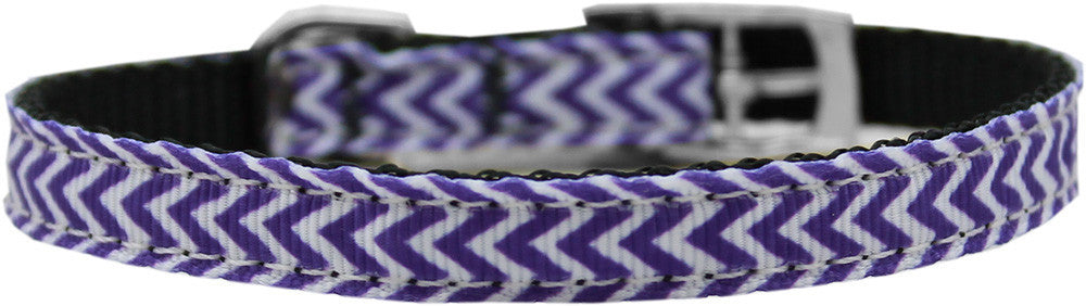 "Chevrons-nylon-collar-buckled-3-8""-Purple-Size-14"