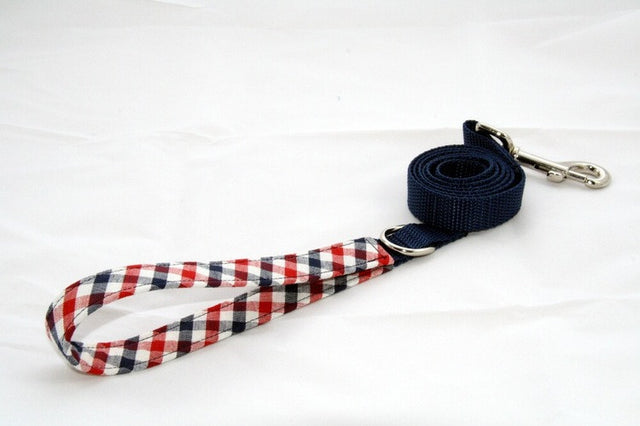 Royal Gingham × Navy Blue (Two-Tone Leash)