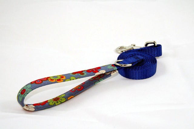 Ocean Floral × Cobalt Blue (Two-Tone Leash)