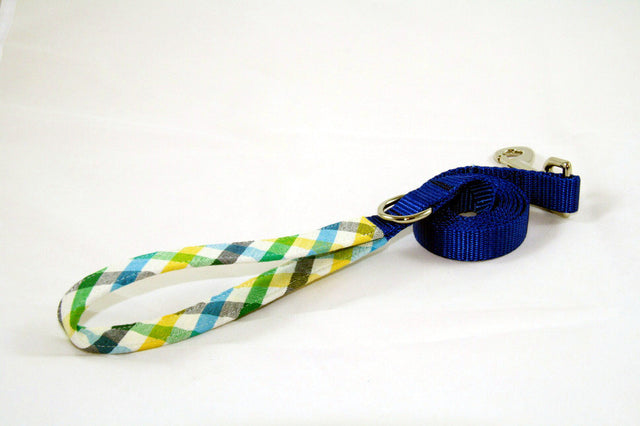 Blueberry Field Gingham × Cobalt Blue (Two-Tone Leash)