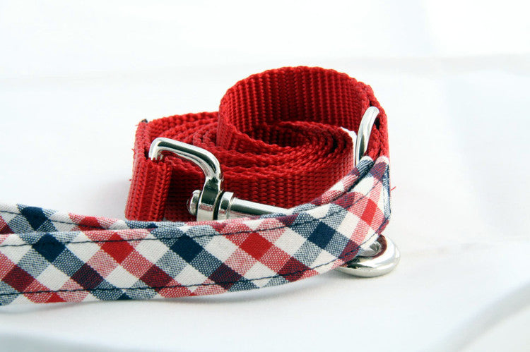 Royal Gingham × Red (Two-Tone Leash)