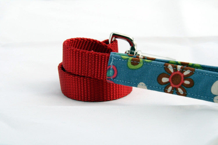 Ocean Floral × Red (Two-Tone Leash)