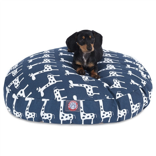 Stretch Navy Small Round Pet Bed