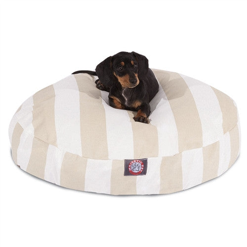 Vertical Stripe Sand Small Round Pet Bed