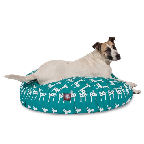 Stretch Turquoise Large Round Pet Bed
