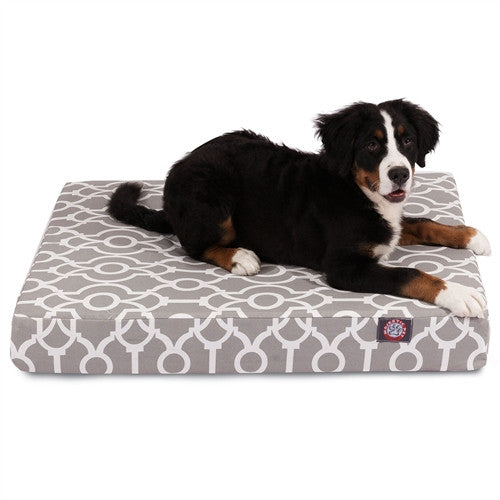 Trellis Memory Foam Bed Grey