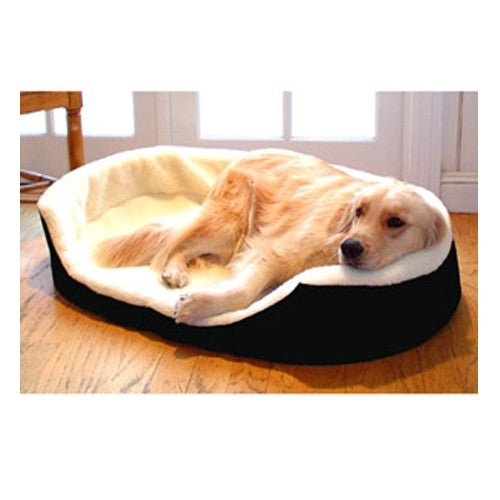 Solid & Sherpa Lounger Pet Bed