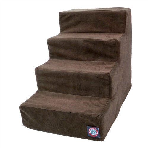 4 Step Chocolate Micro-Velvet Pet Stairs