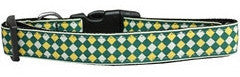 Green Checkers Nylon Collar
