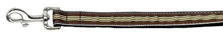 Preppy-Stripes-Nylon-Ribbon-Collars-Brown-Khaki-1-wide-4ft-Lsh