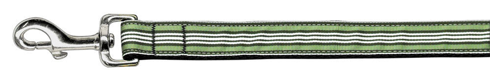 Preppy-Stripes-Nylon-Ribbon-Collars-Green-White-1-wide-6ft-Lsh