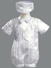 Satin Romper with Embroidered Vest Christening Set