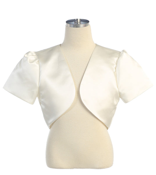 Girl's Satin Bolero Coverup - ivory