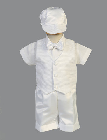 Aiden  Striped Organza Vest & Shorts Christening Set