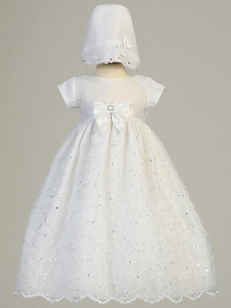 Alexis Embroidered Organza Baptism Gown