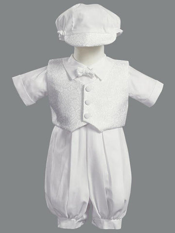 Allen Boys Christening Romper with Vest and Hat