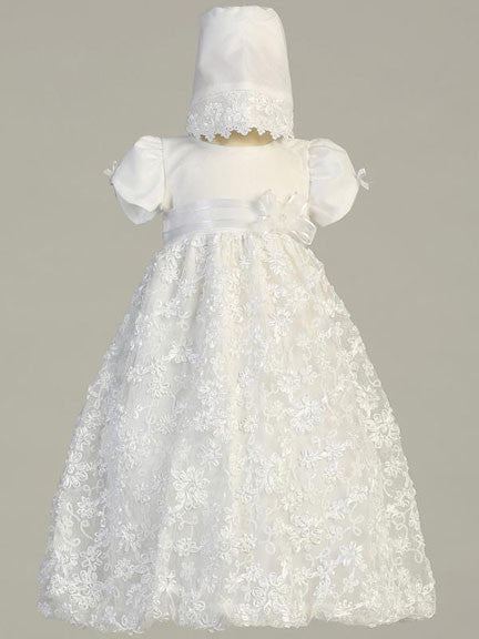 Amber Embroidered Satin Ribbon Tulle Christening Gown