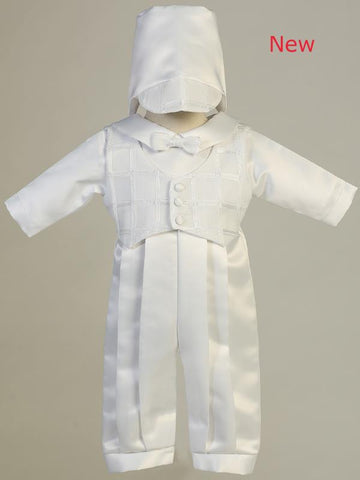 Andrew Satin Long Christening Romper with Plaid Vest