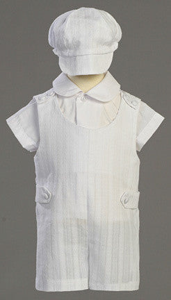 Archie Boy's Christening & Baptism Embroidered Cotton Romper