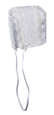 Baby Girls Off-White Silk Christening Baptism Hat with Pin Tucking and Lace Trim LTMAL-DP40GSH