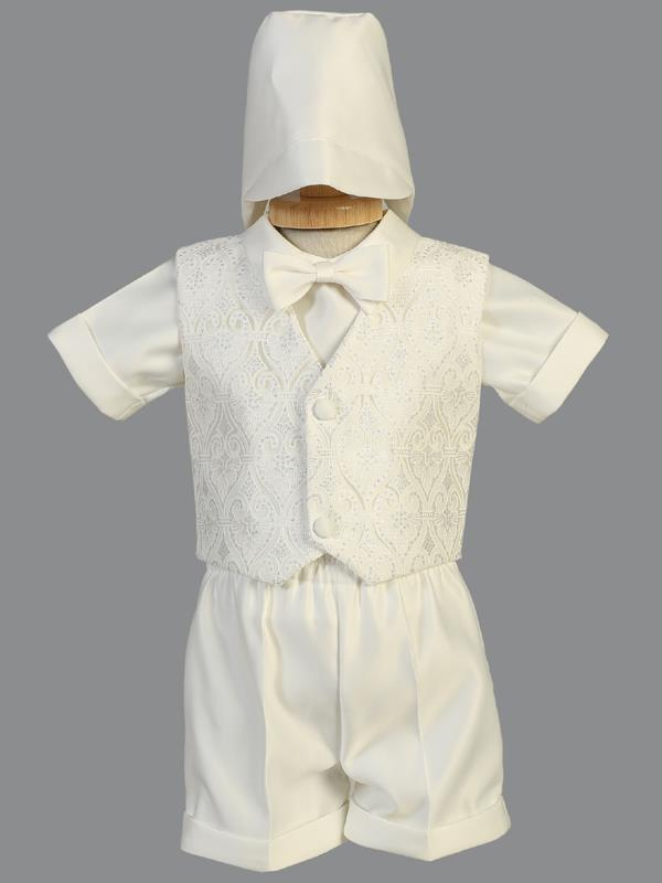 Baby Boys Ivory Tulle Vest and Shorts Baptism Set – LT-8475