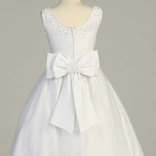 Beaded Satin First Communion Dress with Tulle Skirt - SP917