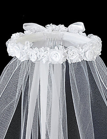 Beautiful Rose Headpiece with Veil - Lito T-12
