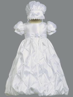 Beverly Baby Girls White Gathered Taffeta Baptismal Gown