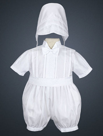 Boy's Shantung Romper with Bonnet