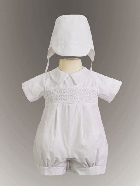 Jeremy Boy's Smocked Cotton Christening Romper