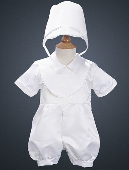 Boy's Christening Romper with Bonnet