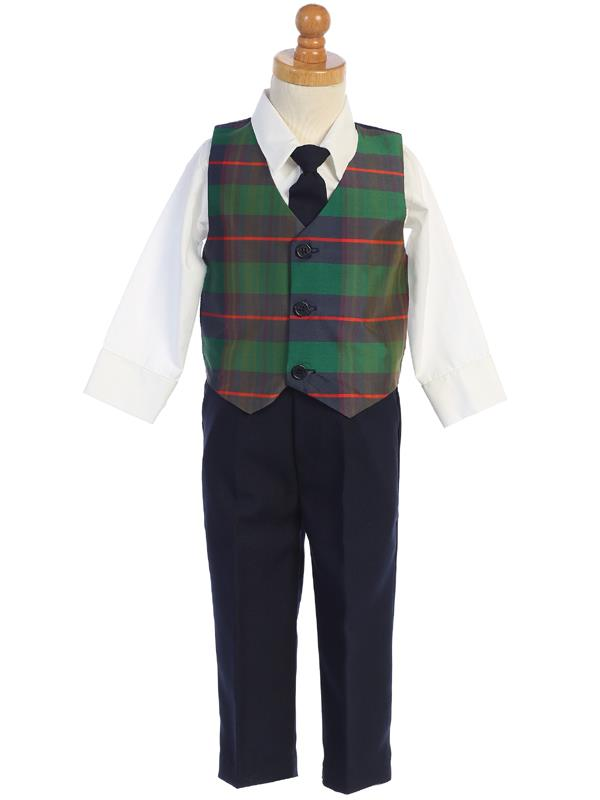 Boys Green Plaid Vest and Pants Holiday Set - C569-G