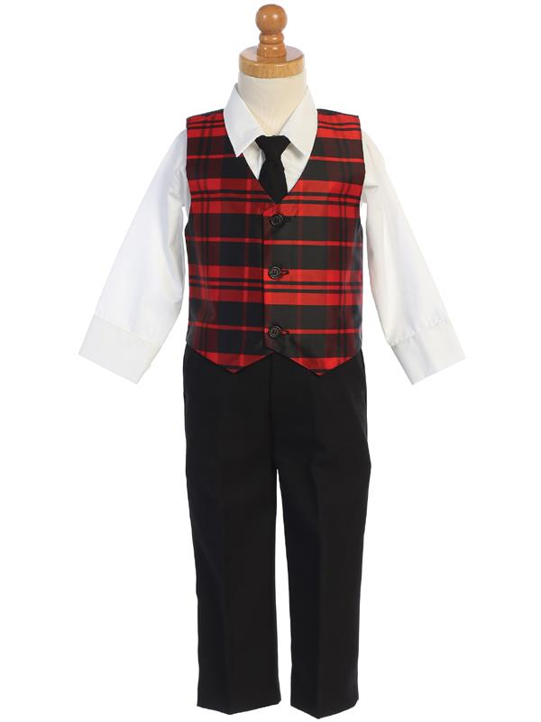Boys Red Plaid Vest and Pants Holiday Set - C569-R