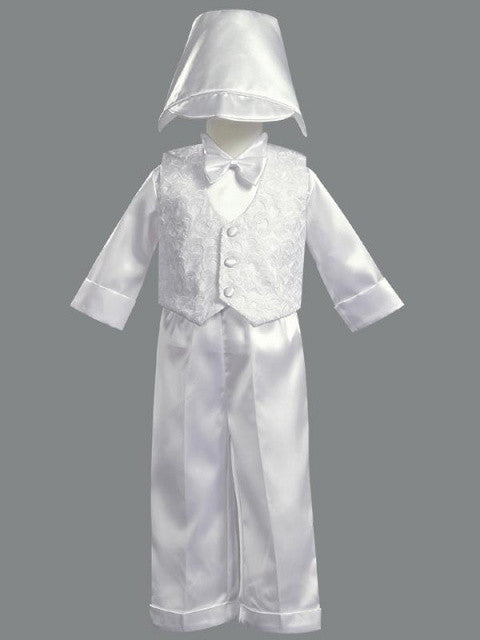 Boy's White Satin 5 Piece Embroidered Vest & Pants Set