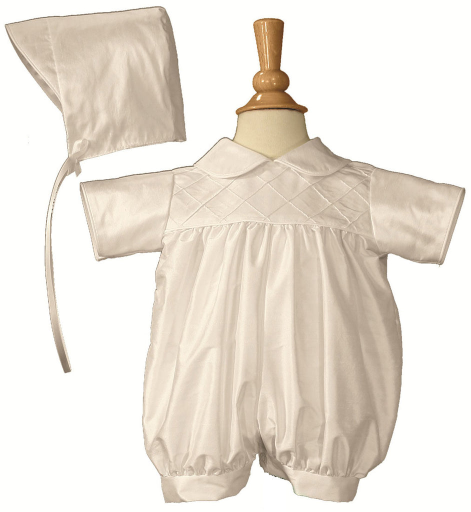 Boys White Smocked Silk Christening Baptism Romper - LTMAL - DP19RS03