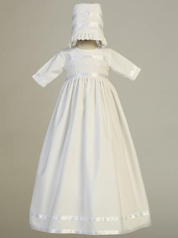 Bridget Embroidered Shamrock Cotton Christening Gown