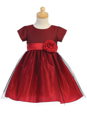 Red Jacquard Holiday Dress with Crystal Tulle Skirt  C519