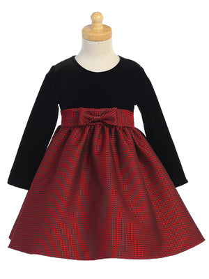Red Jacquard and Black Velvet Holiday Dress  C525