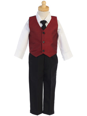 Boys Red Jacquard Vest and Pants Holiday Set - C563