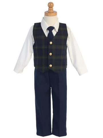Boys Green Plaid Vest 4-Piece Holiday Set