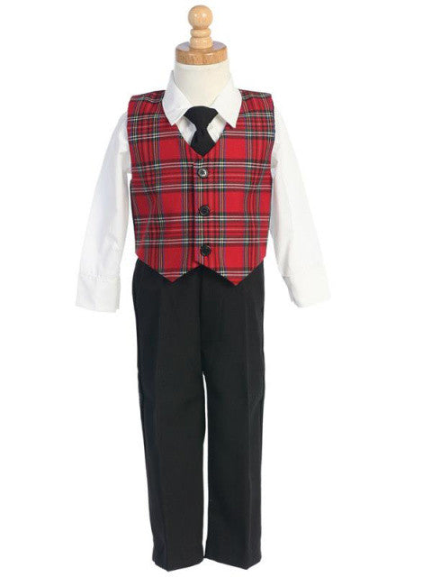 Boys Red Plaid Vest 4-Piece Holiday Set