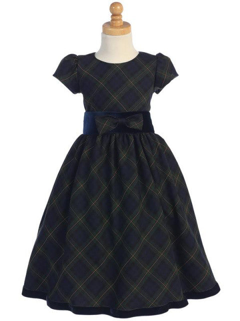 Green Plaid Holiday Dress with Blue Velvet Trim