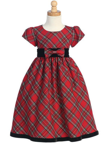 Red Plaid Holiday Dress with Black Velvet Trim