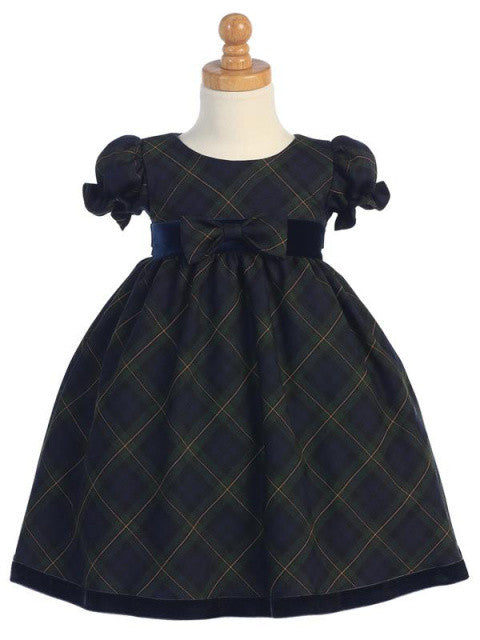 Girls Green Plaid Holiday Dress with Velvet Trim