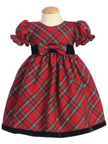 Girls Red Plaid Holiday Dress with Velvet Trim